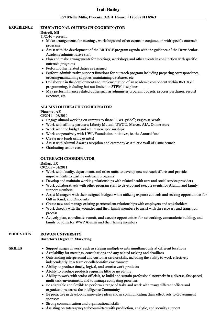 outreach coordinator resume samples