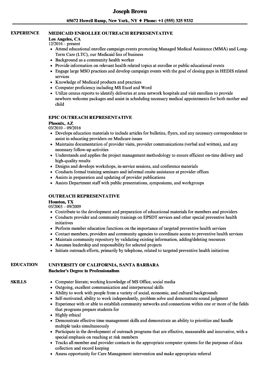 outreach representative resume samples