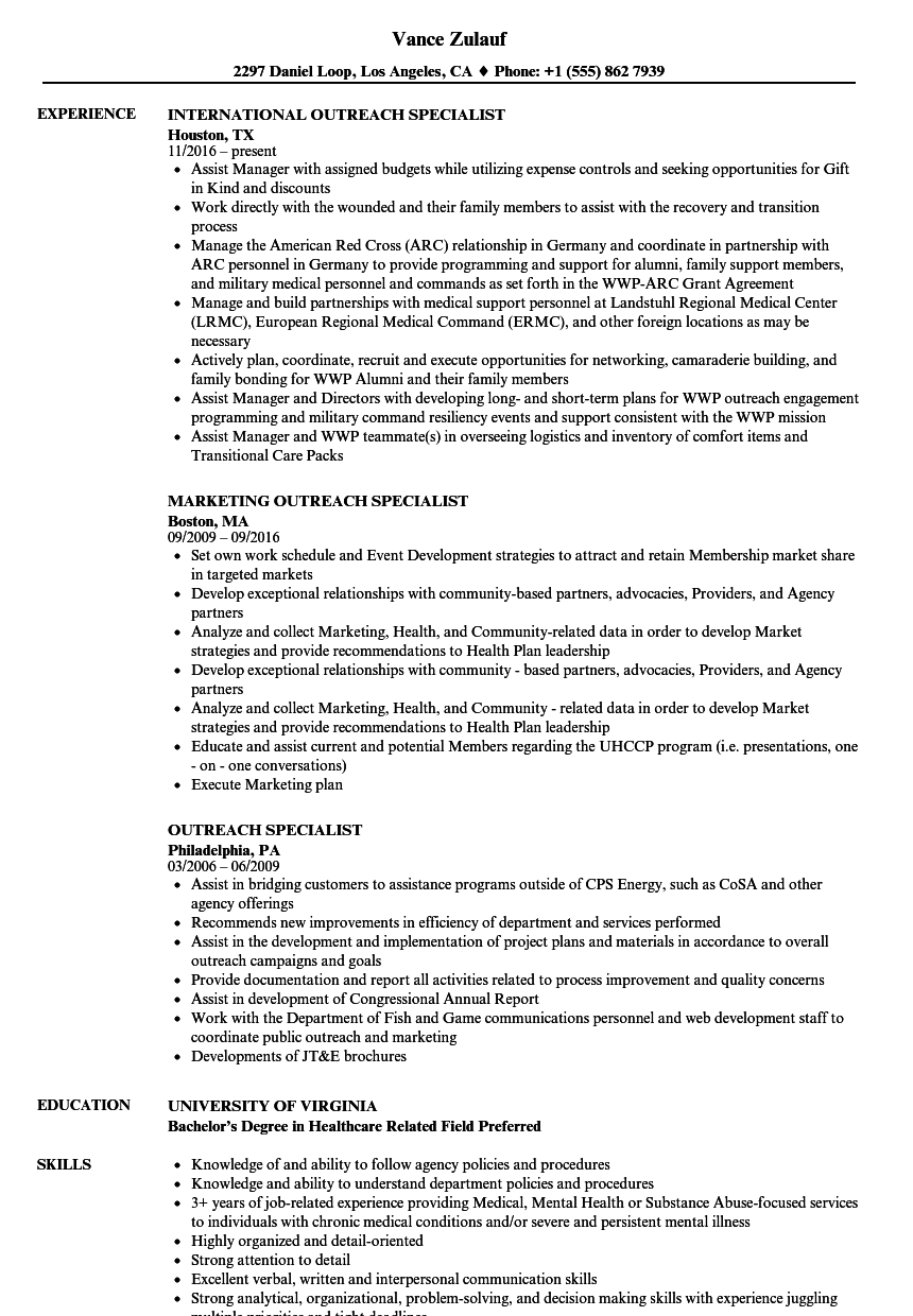 outreach specialist resume samples