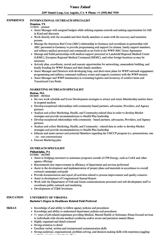 outreach specialist resume samples velvet jobs