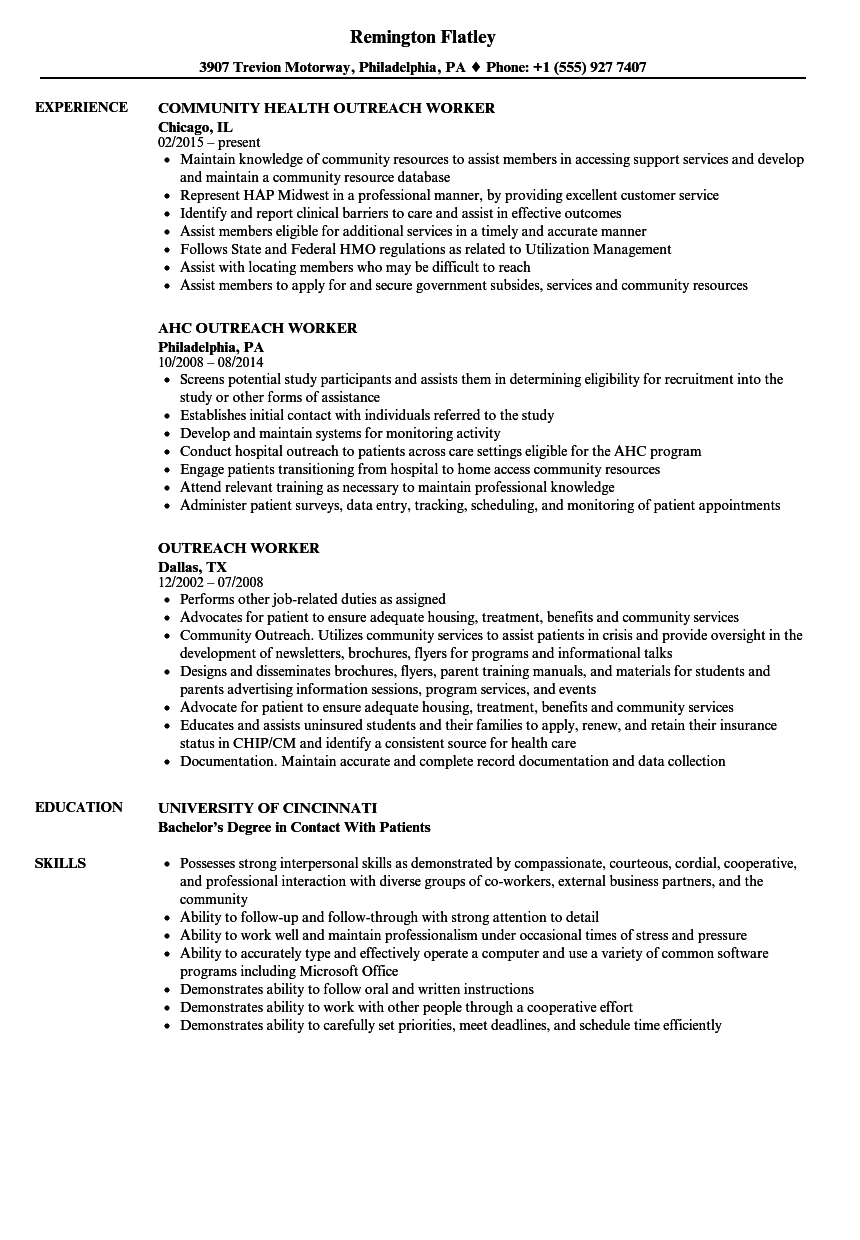 outreach worker resume samples