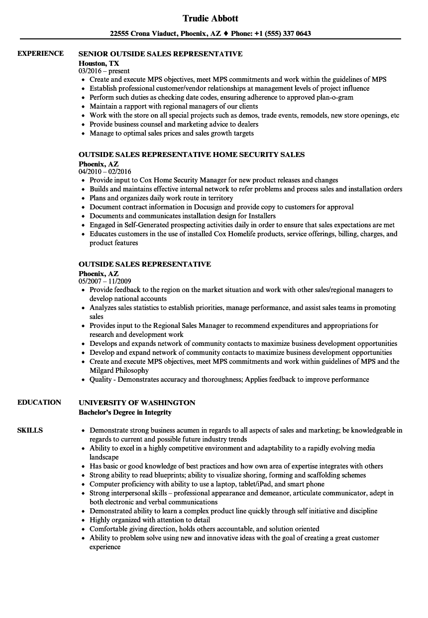 Outside Sales Representative Resume Samples Velvet Jobs
