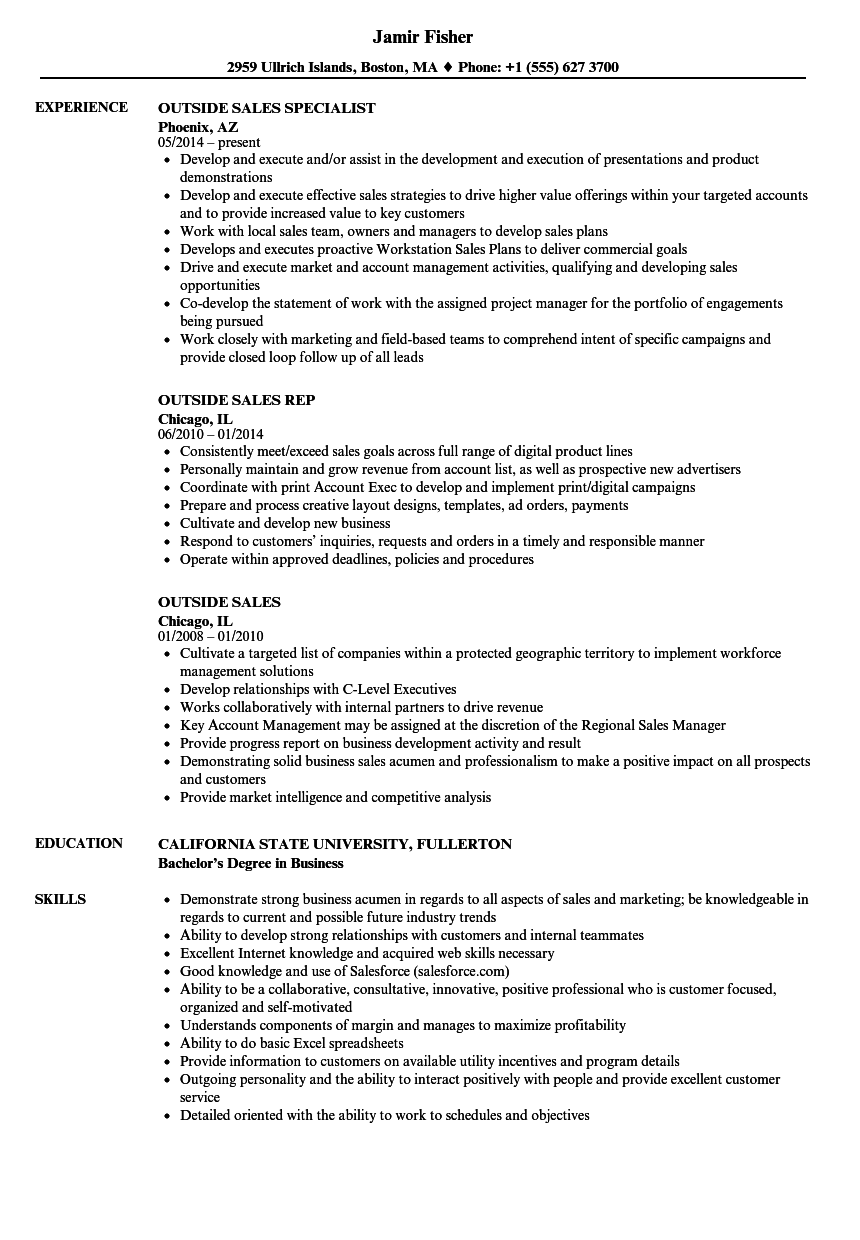 Outside Sales Resume Samples | Velvet Jobs