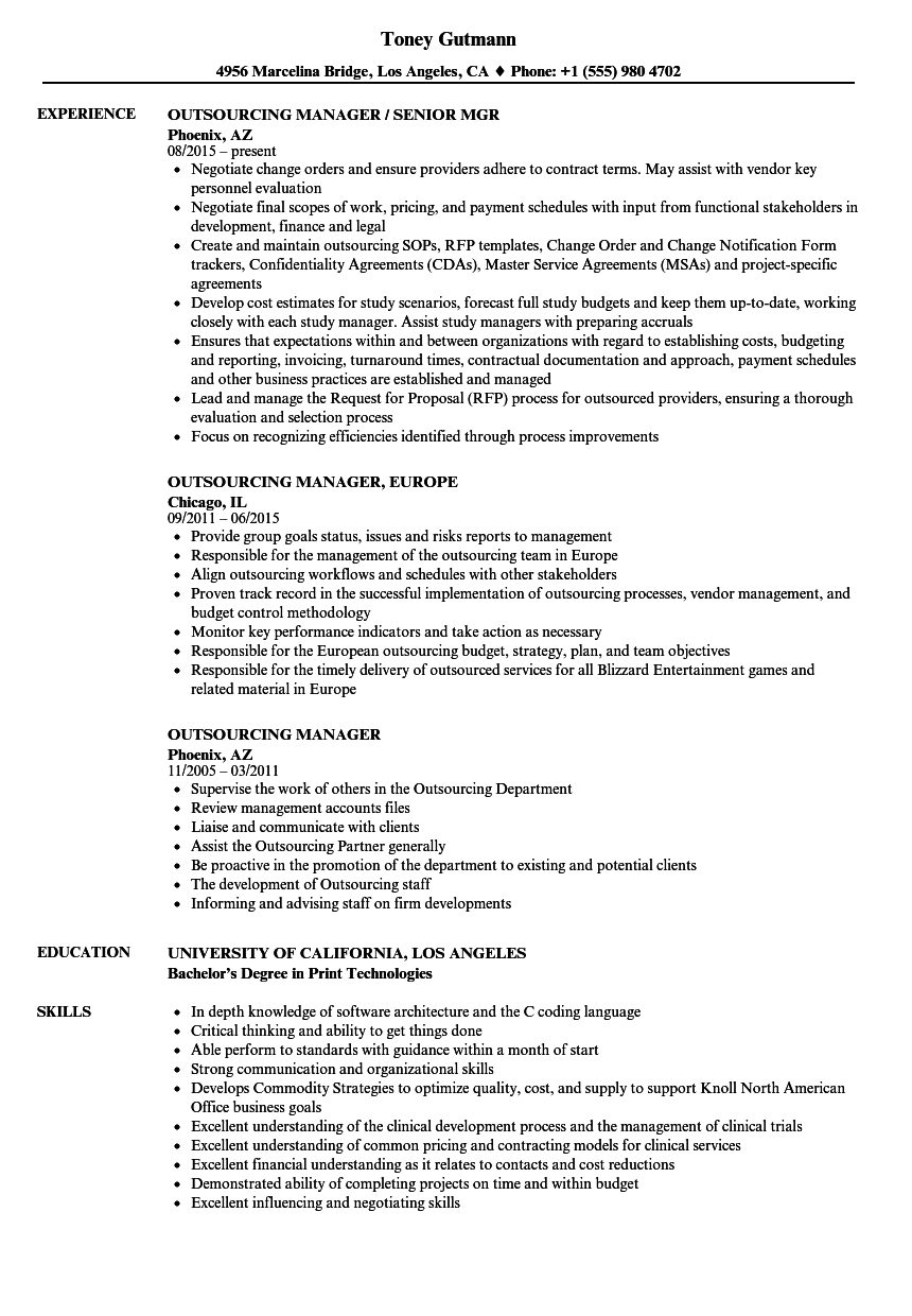 Outsourcing Manager Resume Samples | Velvet Jobs