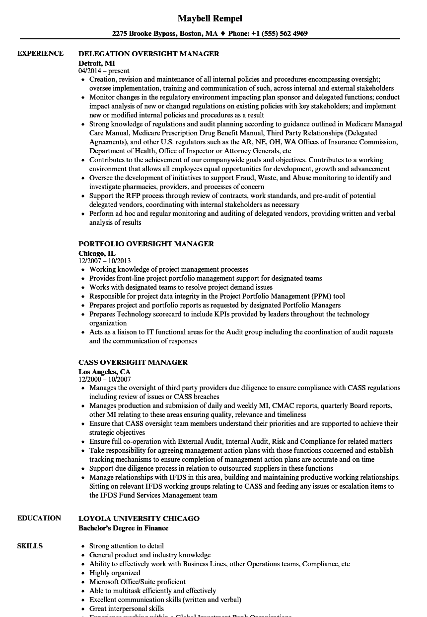 Oversight Manager Resume Samples | Velvet Jobs