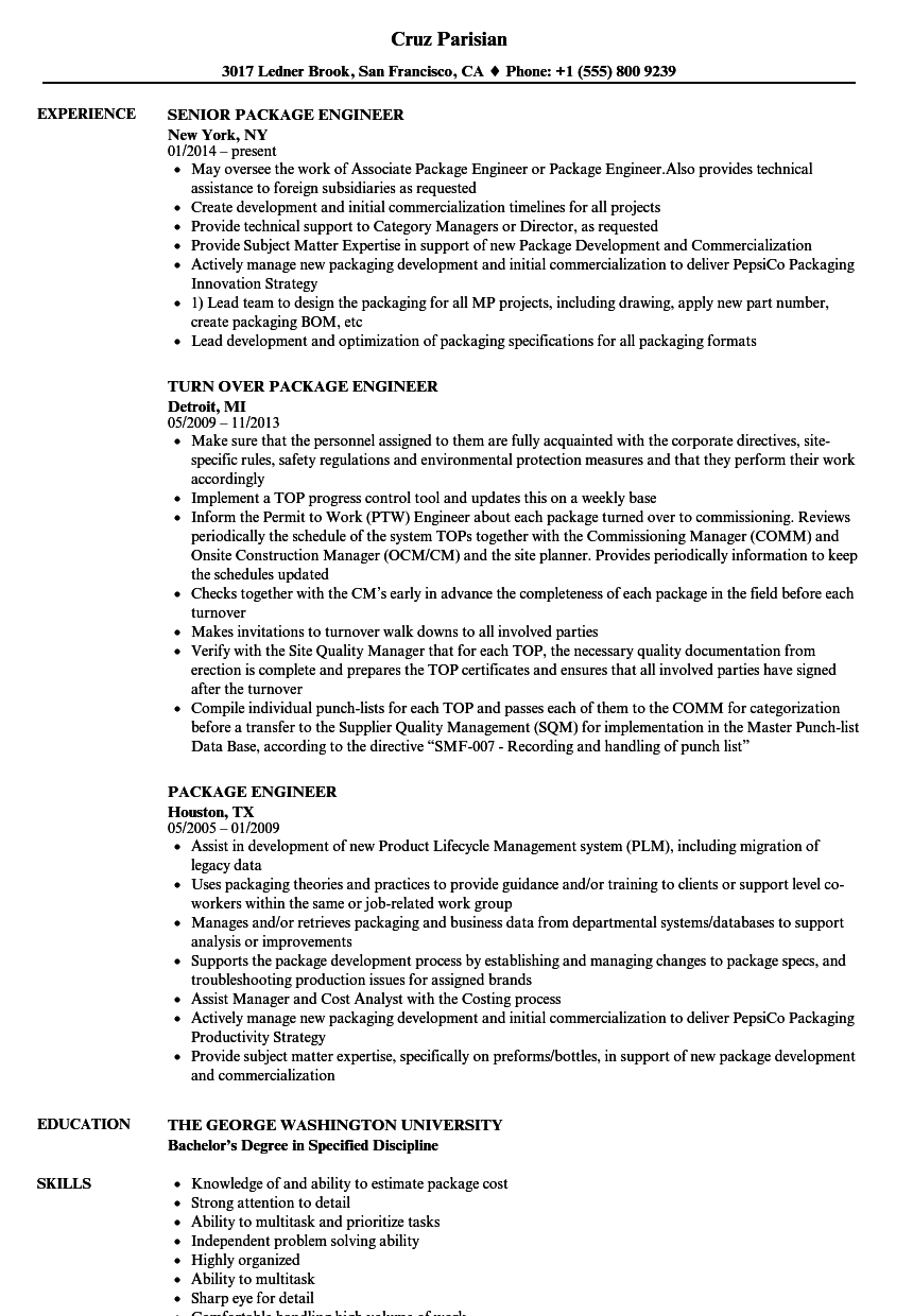 Package Engineer Resume Samples | Velvet Jobs
