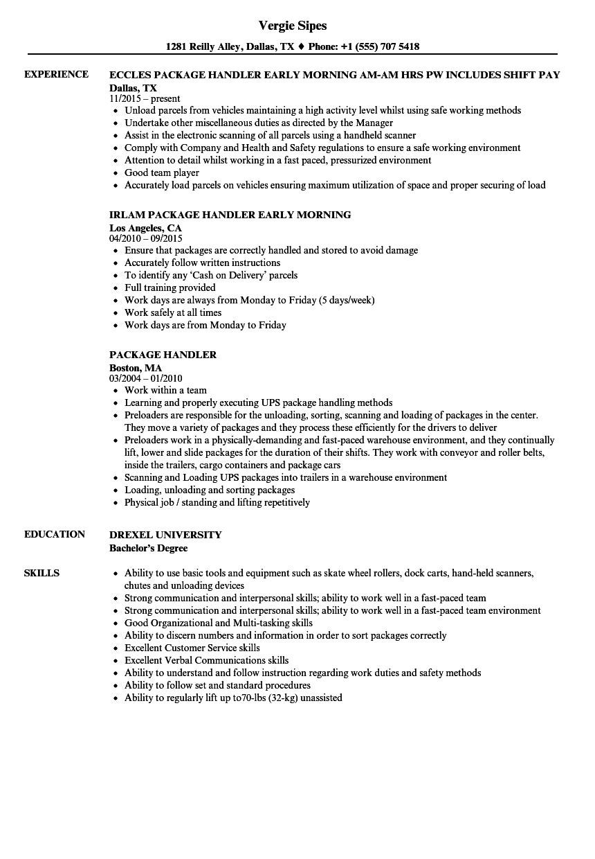 Package Handler Resume Samples Velvet Jobs