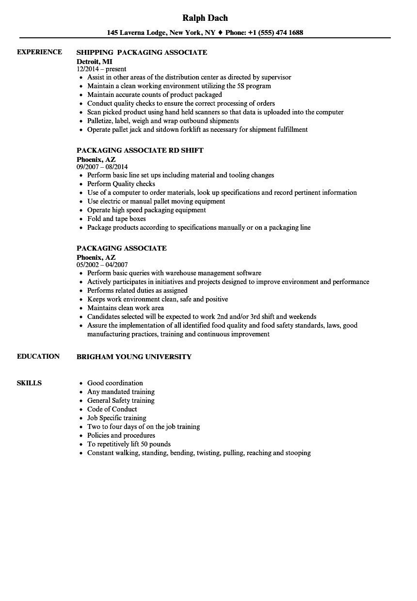 Packaging Associate Resume Samples   Velvet Jobs