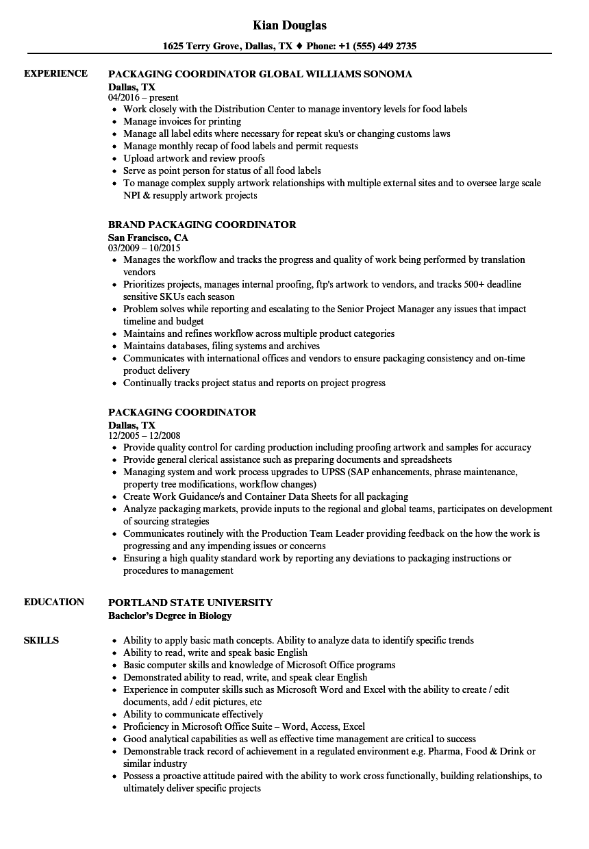 packaging coordinator resume samples