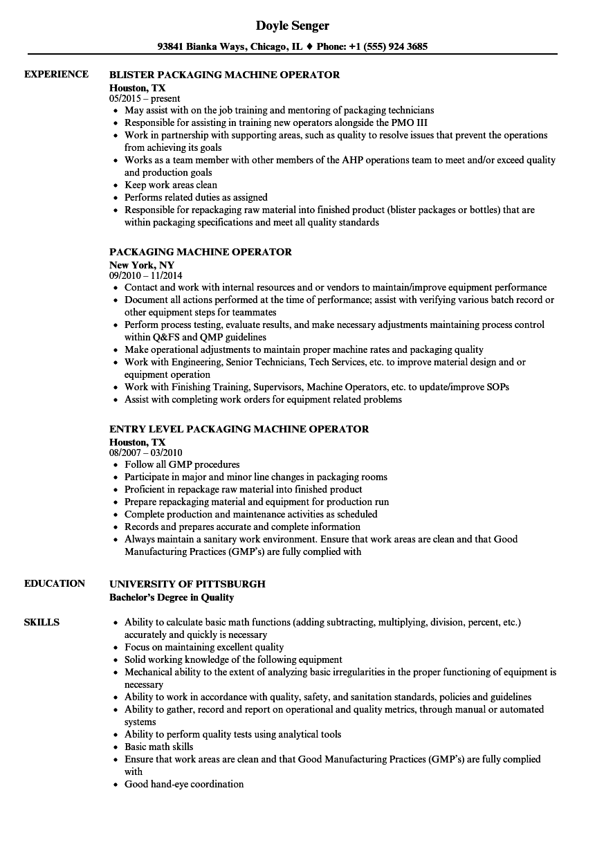 Download Packaging Machine Operator Resume Sample As Image File