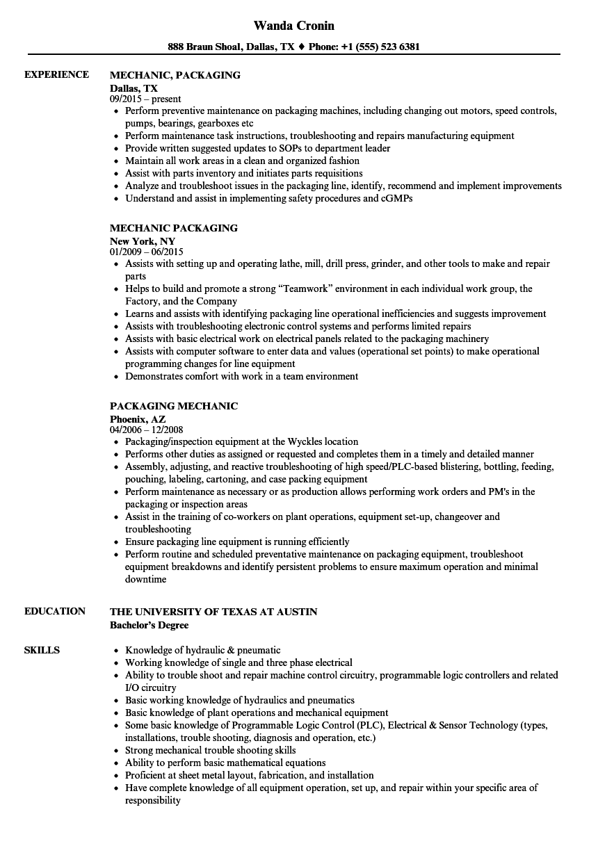 Packaging Mechanic Resume Samples Velvet Jobs