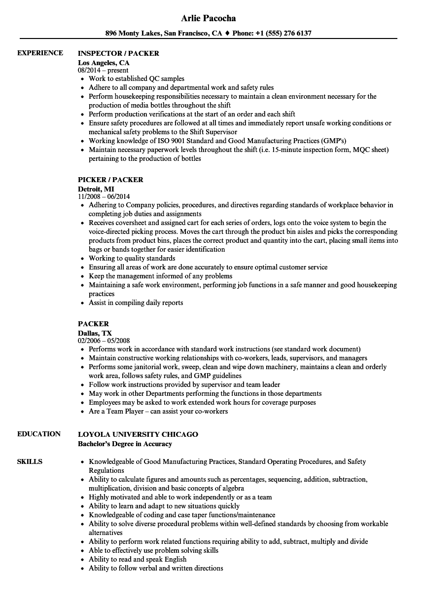 Velvet Jobs  Pick Packer Resume