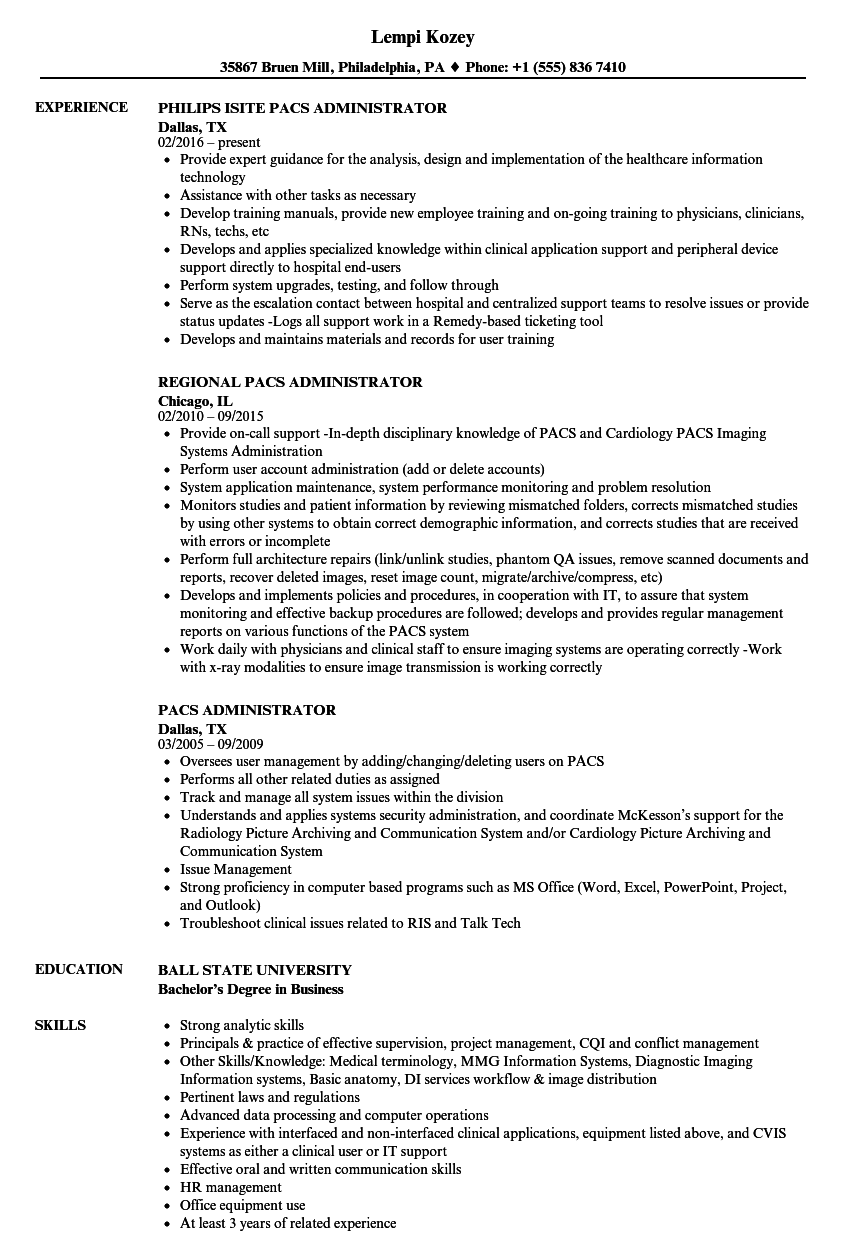 pacs administrator resume samples