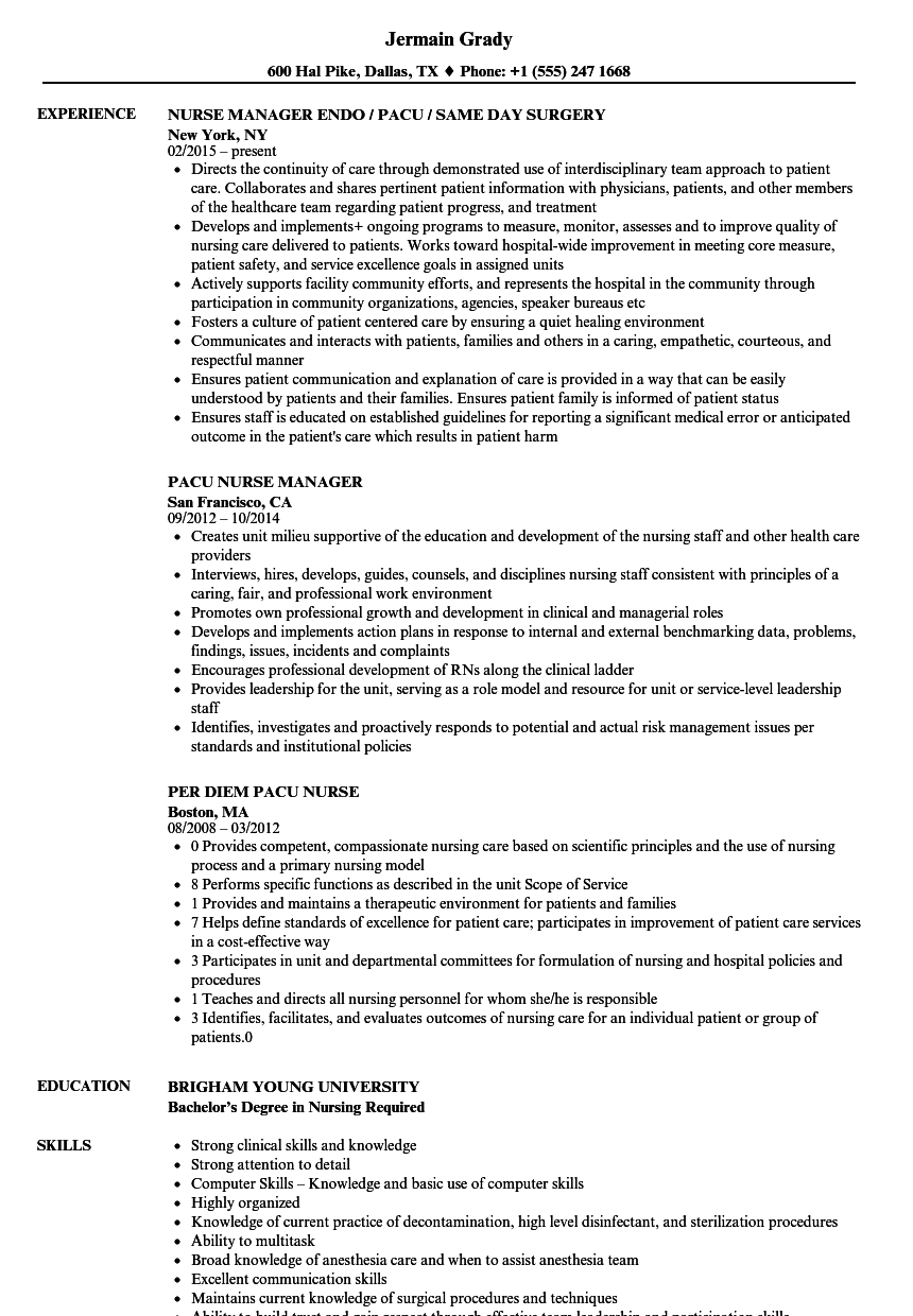 pacu nurse resume samples