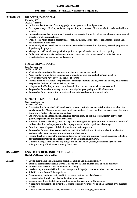 paid social resume samples