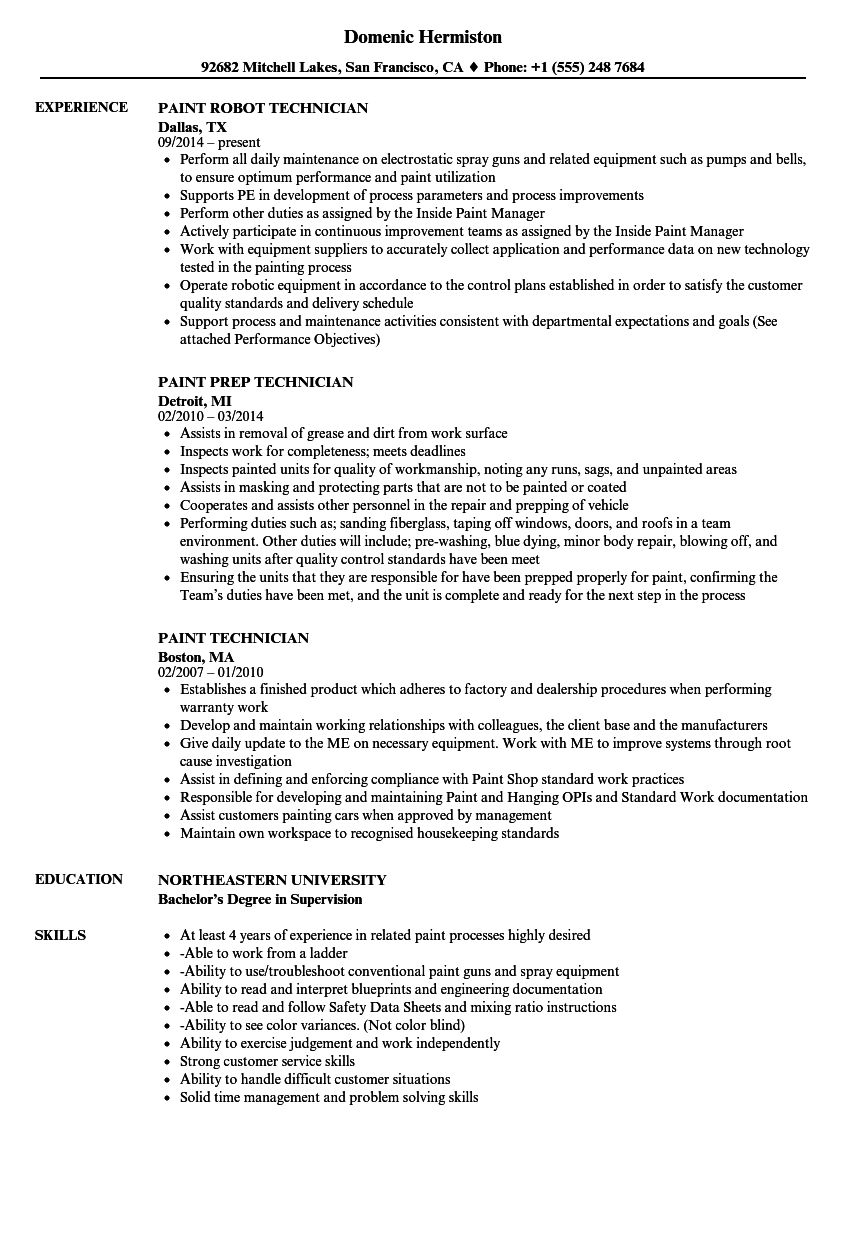 Paint Technician Resume Samples