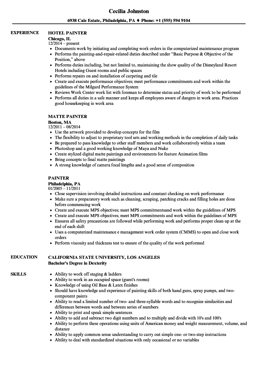 painter skills for resume