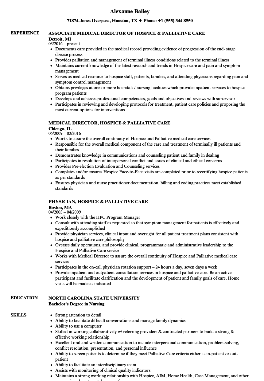 Palliative Care Resume Samples | Velvet Jobs