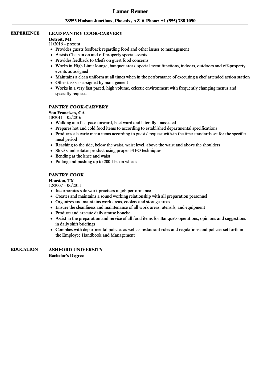 Download Pantry Cook Resume Sample As Image File