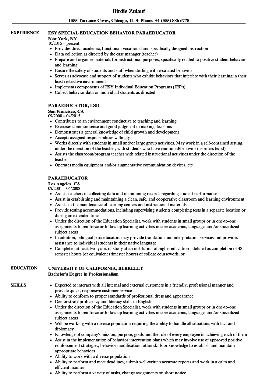 Paraeducator resume samples velvet jobs for Sample resume for paraprofessional position