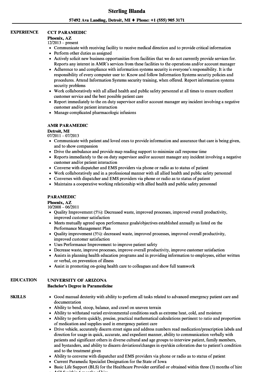 Paramedic Resume Samples Velvet Jobs
