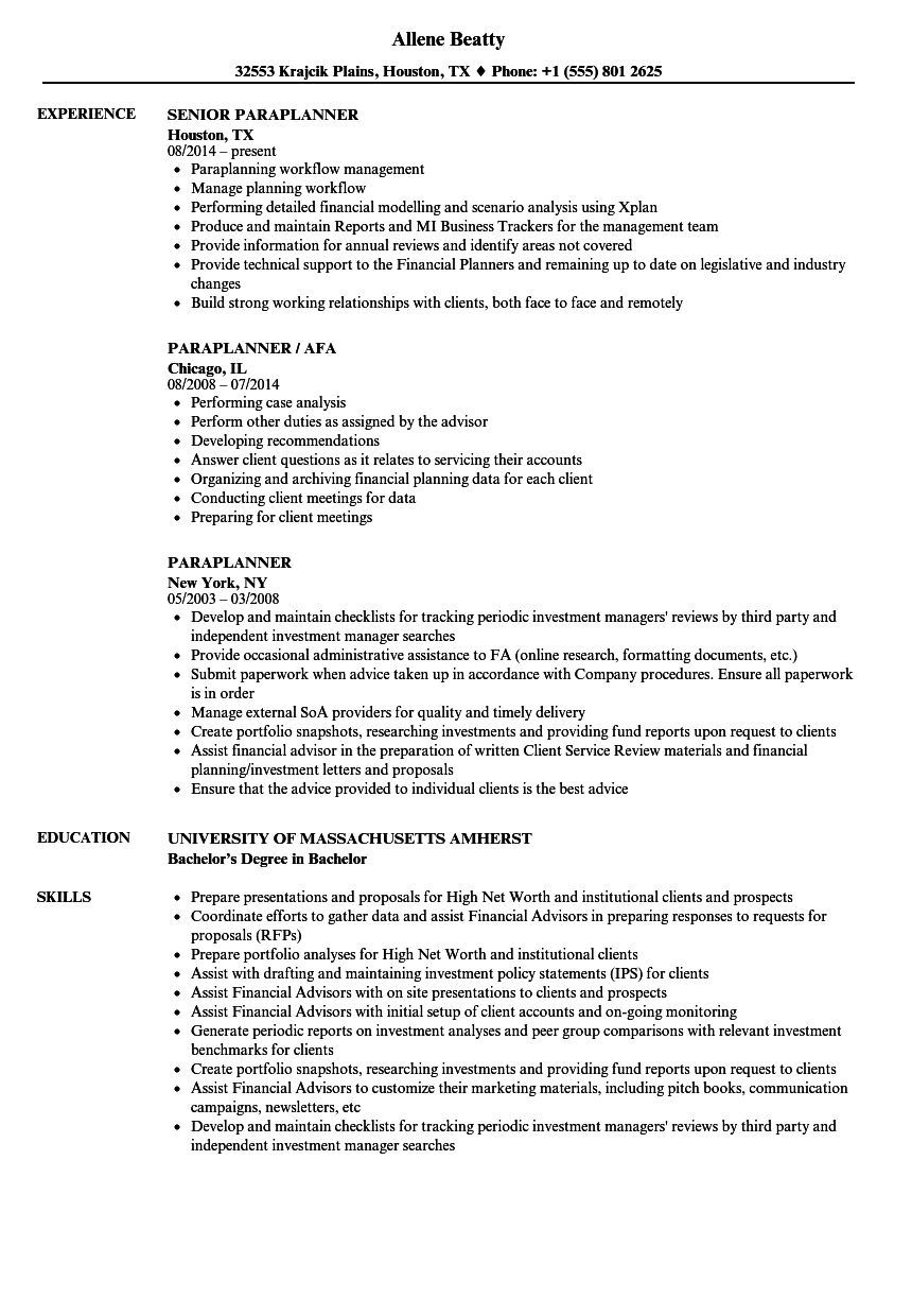 paraplanner resume samples