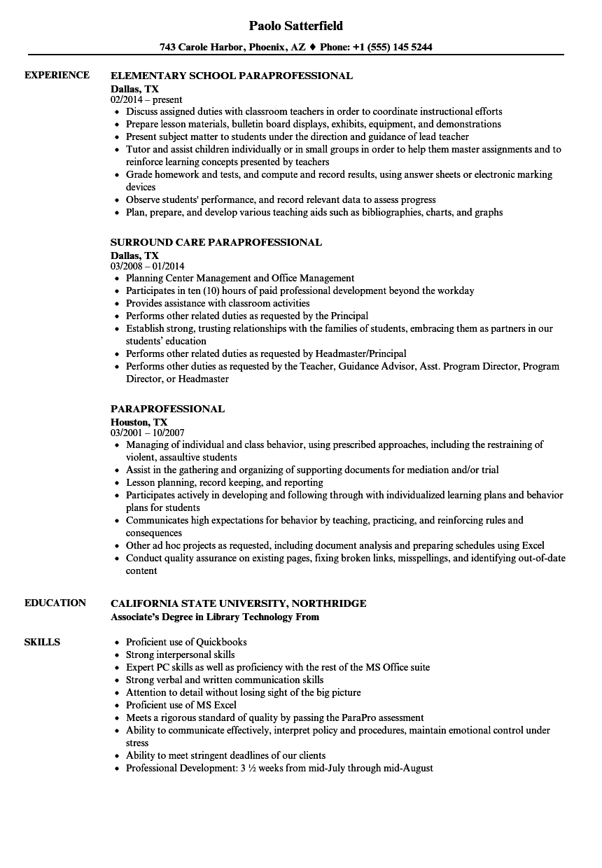 Download Paraprofessional Resume Sample As Image File