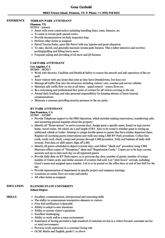 park attendant resume samples