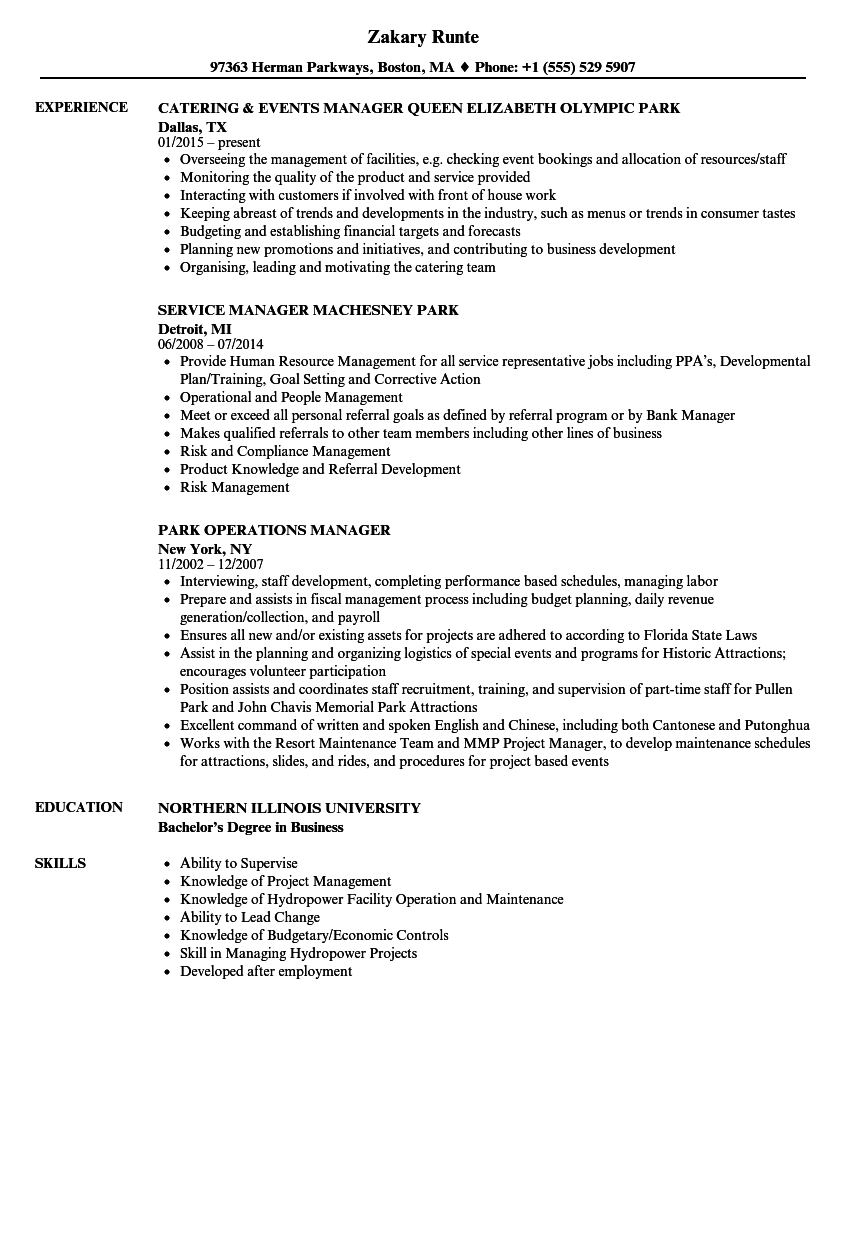 park manager resume samples