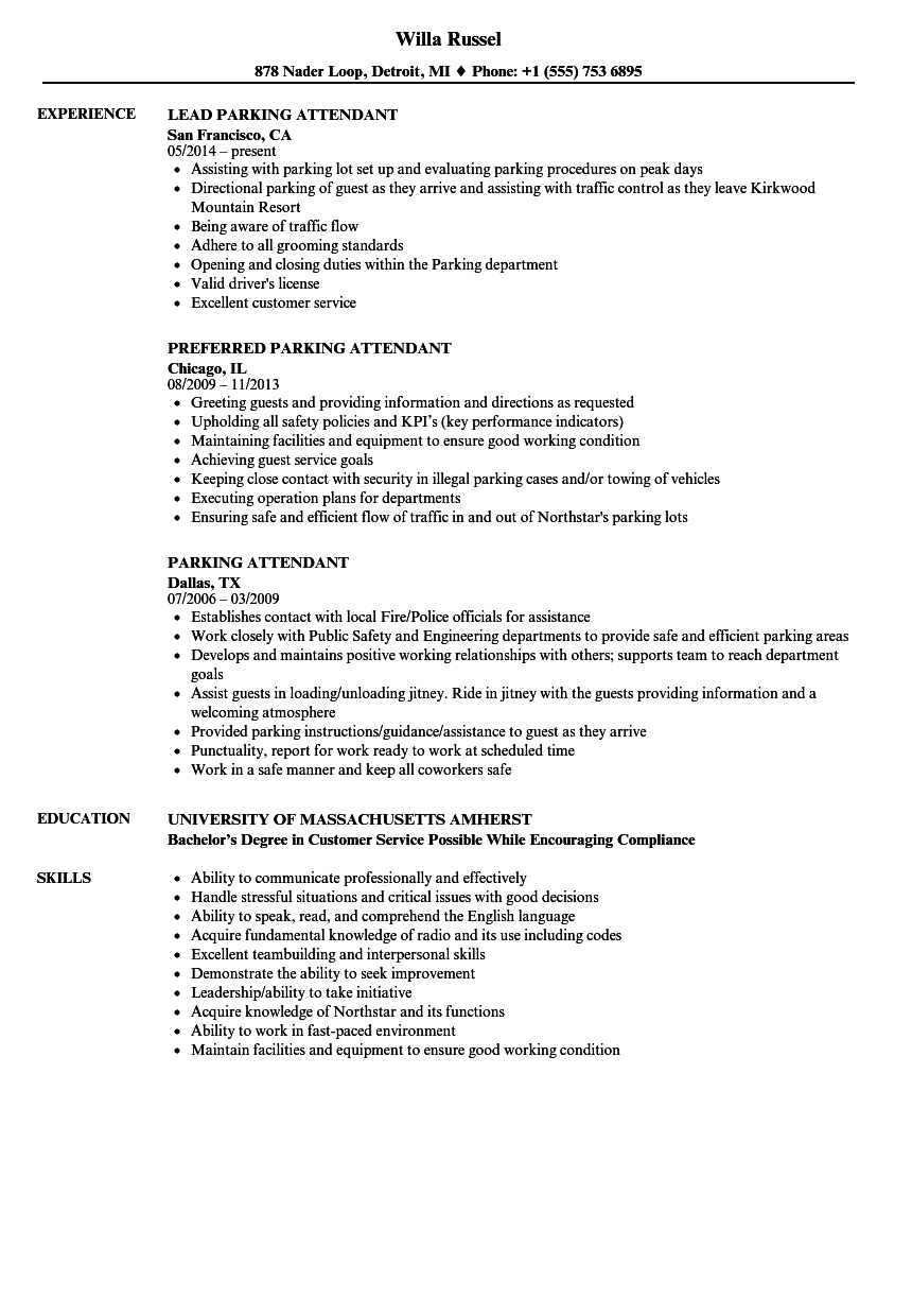 Parking Attendant Resume Samples | Velvet Jobs