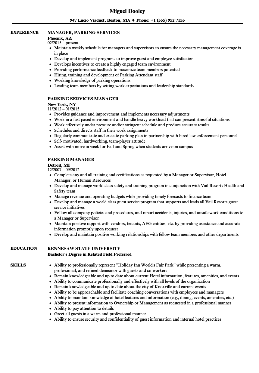 Parking Manager Resume Samples | Velvet Jobs