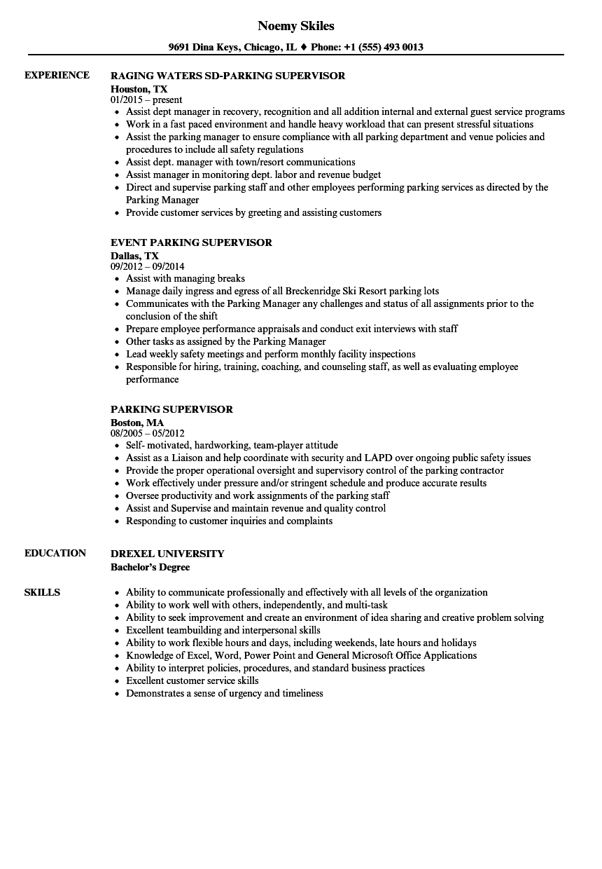 Parking supervisor resume samples velvet jobs for Resume samples for supervisor positions