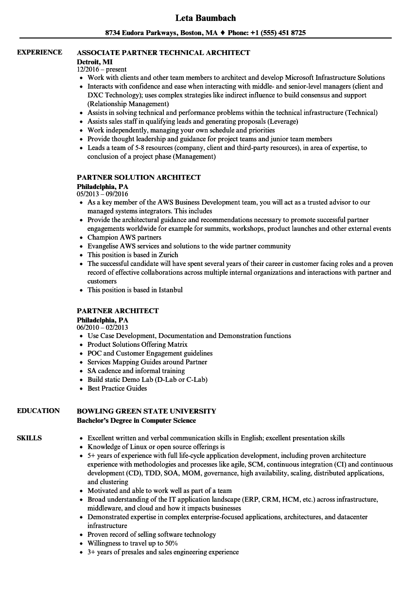 Download Partner Architect Resume Sample As Image File  Architecture Resume Sample