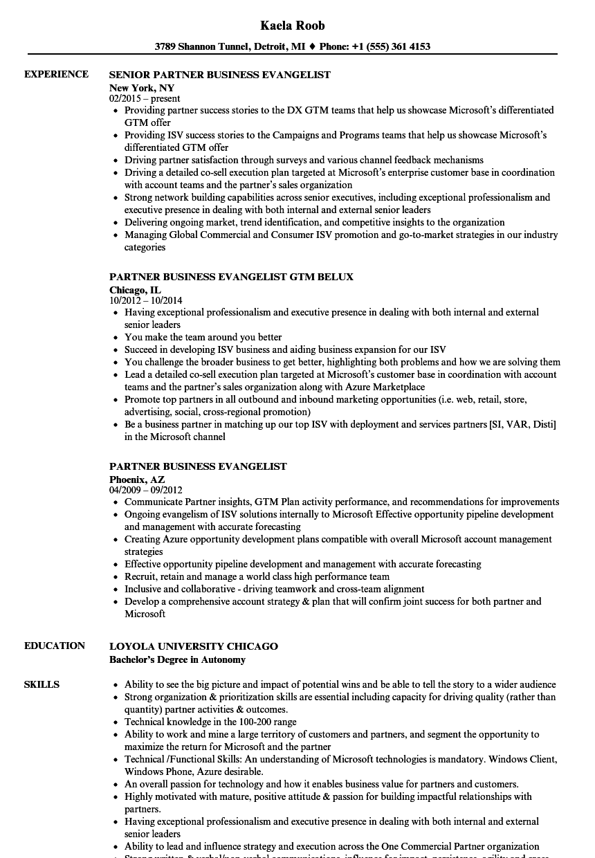 Partner Business Evangelist Resume Samples | Velvet Jobs