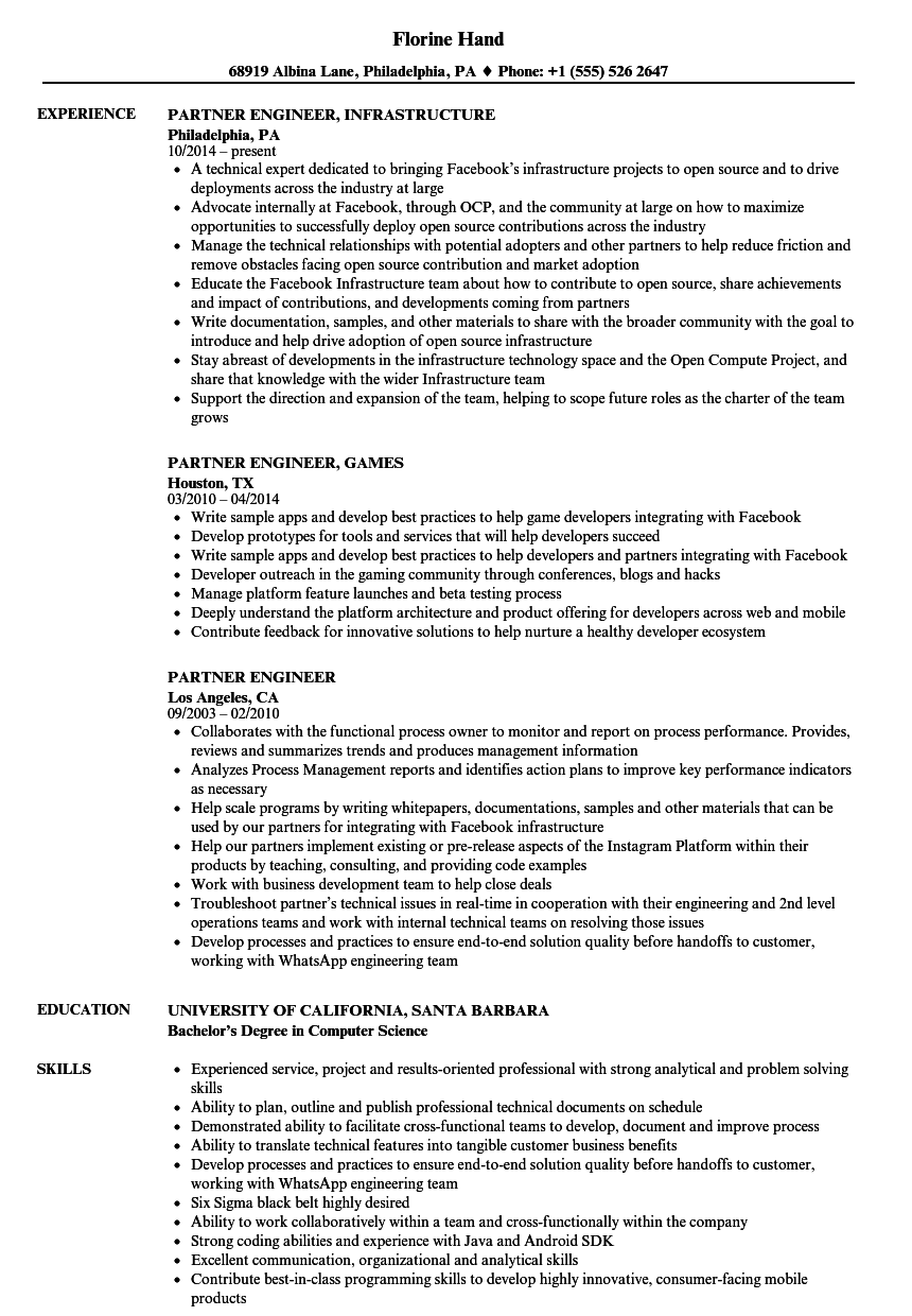 Download Partner Engineer Resume Sample As Image File  Sample Engineer Resume