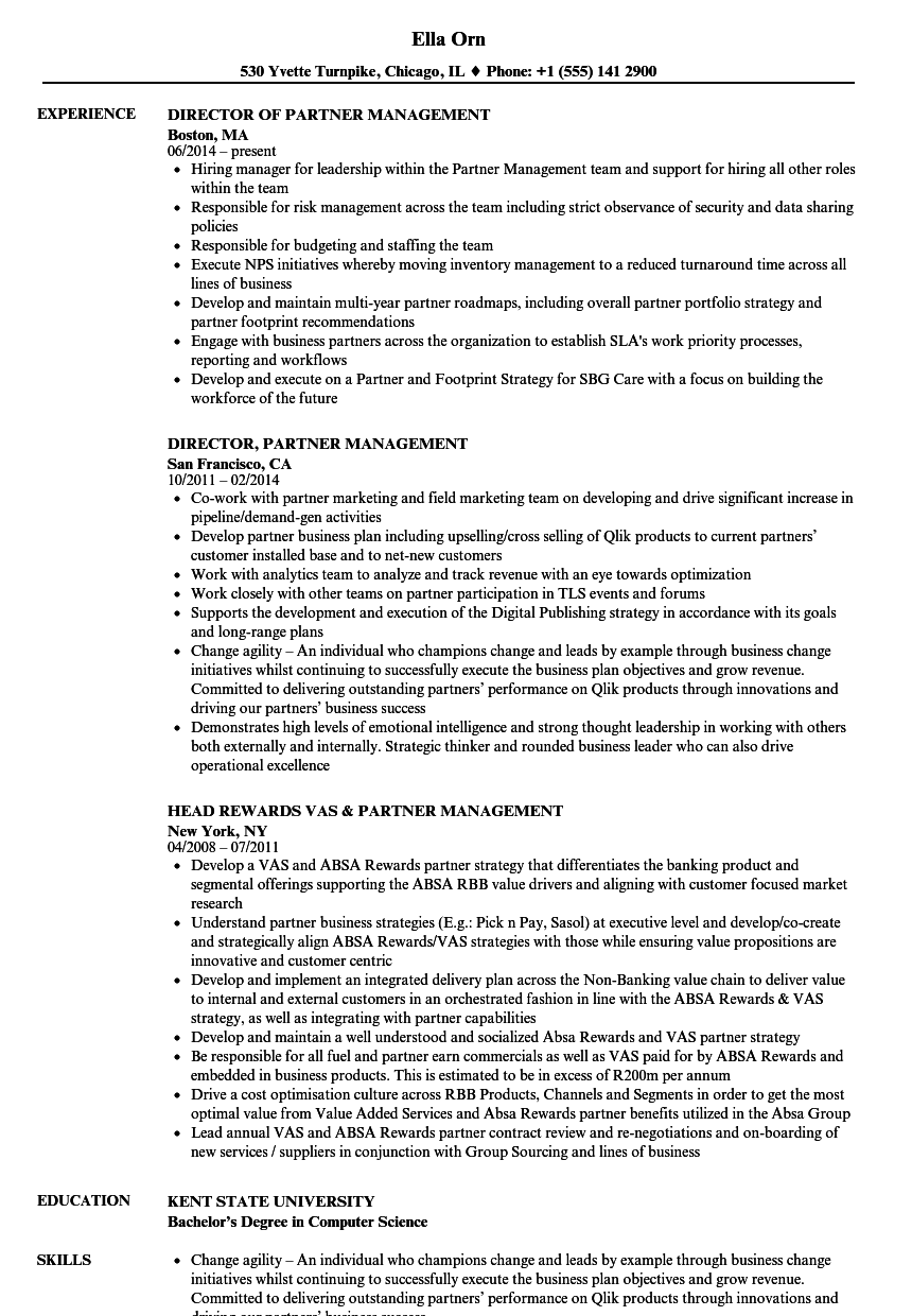 partner management resume samples velvet jobs