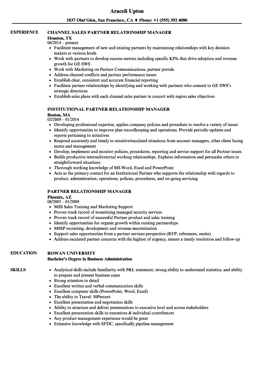 Partner Relationship Manager Resume Samples Velvet Jobs