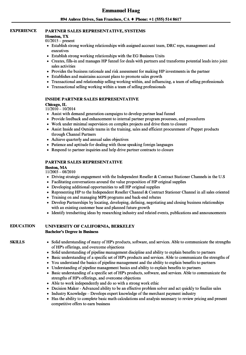 Partner Sales Representative Resume Samples | Velvet Jobs