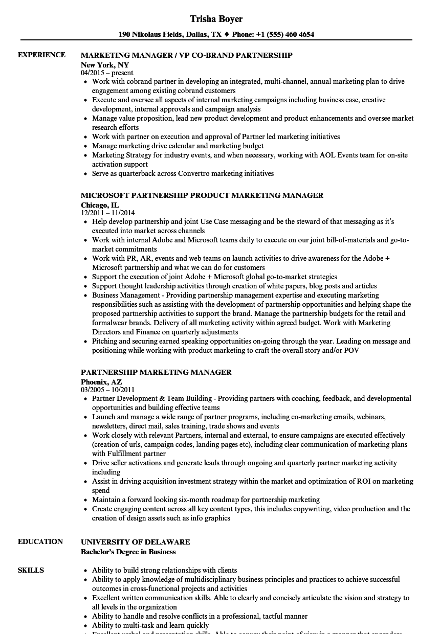 Partnership Marketing Manager Resume Samples | Velvet Jobs