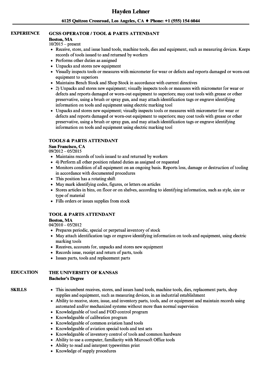 Parts Attendant Resume Samples | Velvet Jobs