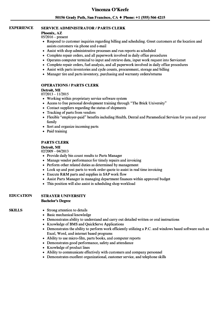 parts clerk resume samples