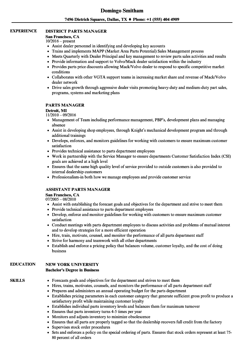 Parts Manager Resume Samples | Velvet Jobs