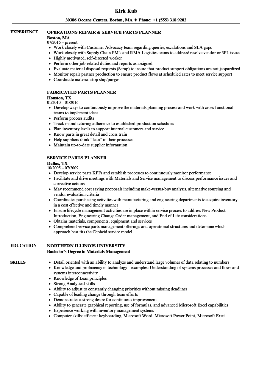 Parts Planner Resume Samples Velvet Jobs