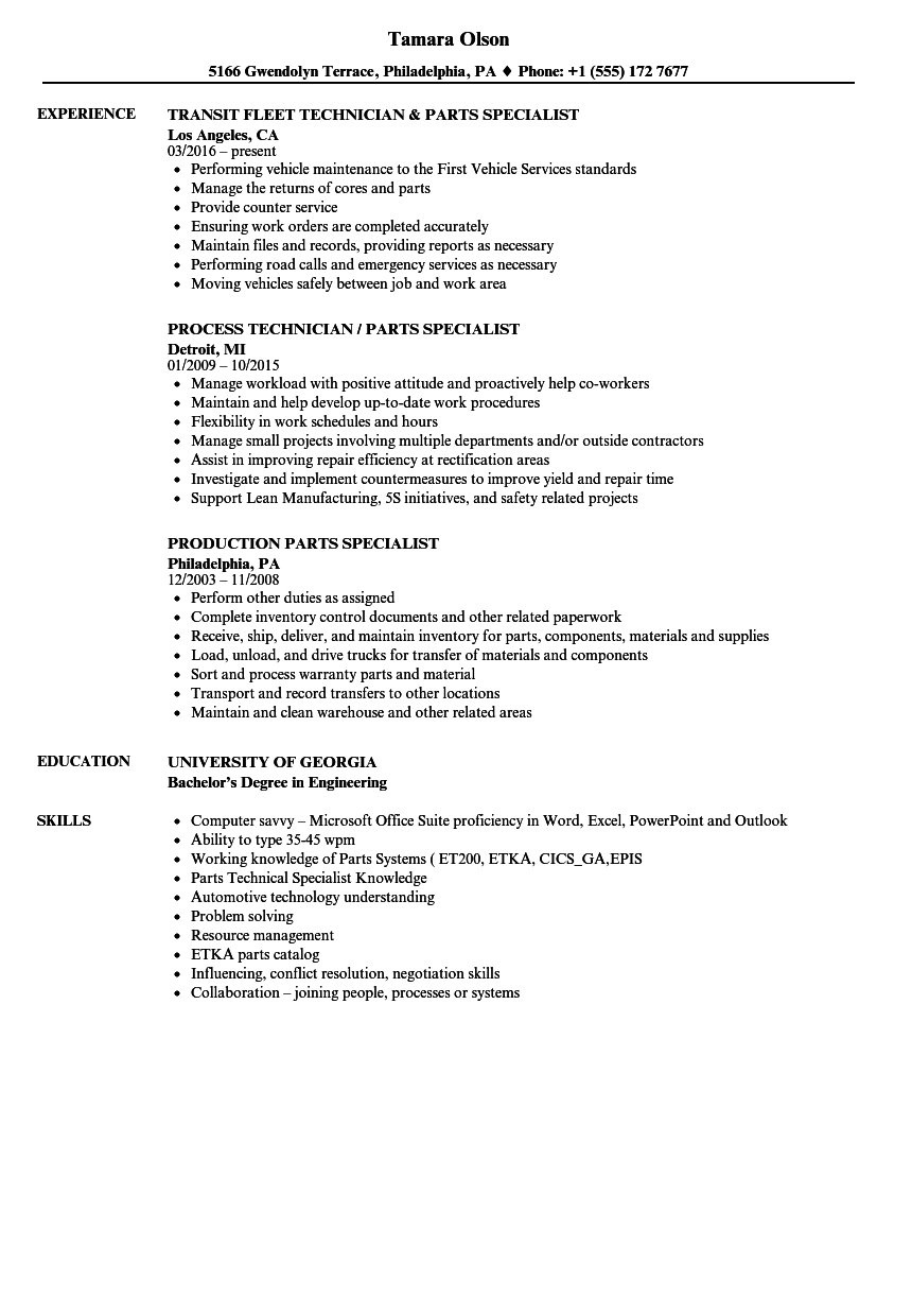 Parts Specialist Resume Samples | Velvet Jobs