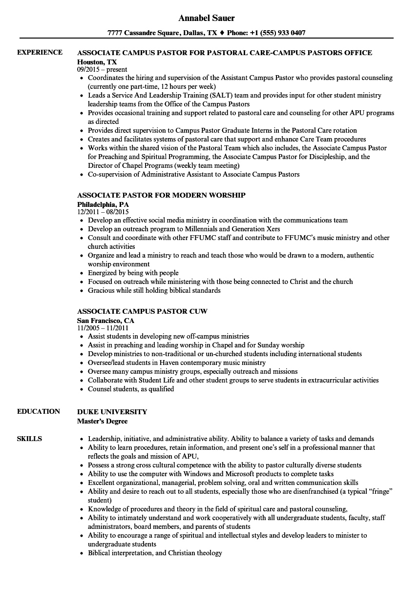 Pastor Resume Samples Velvet Jobs