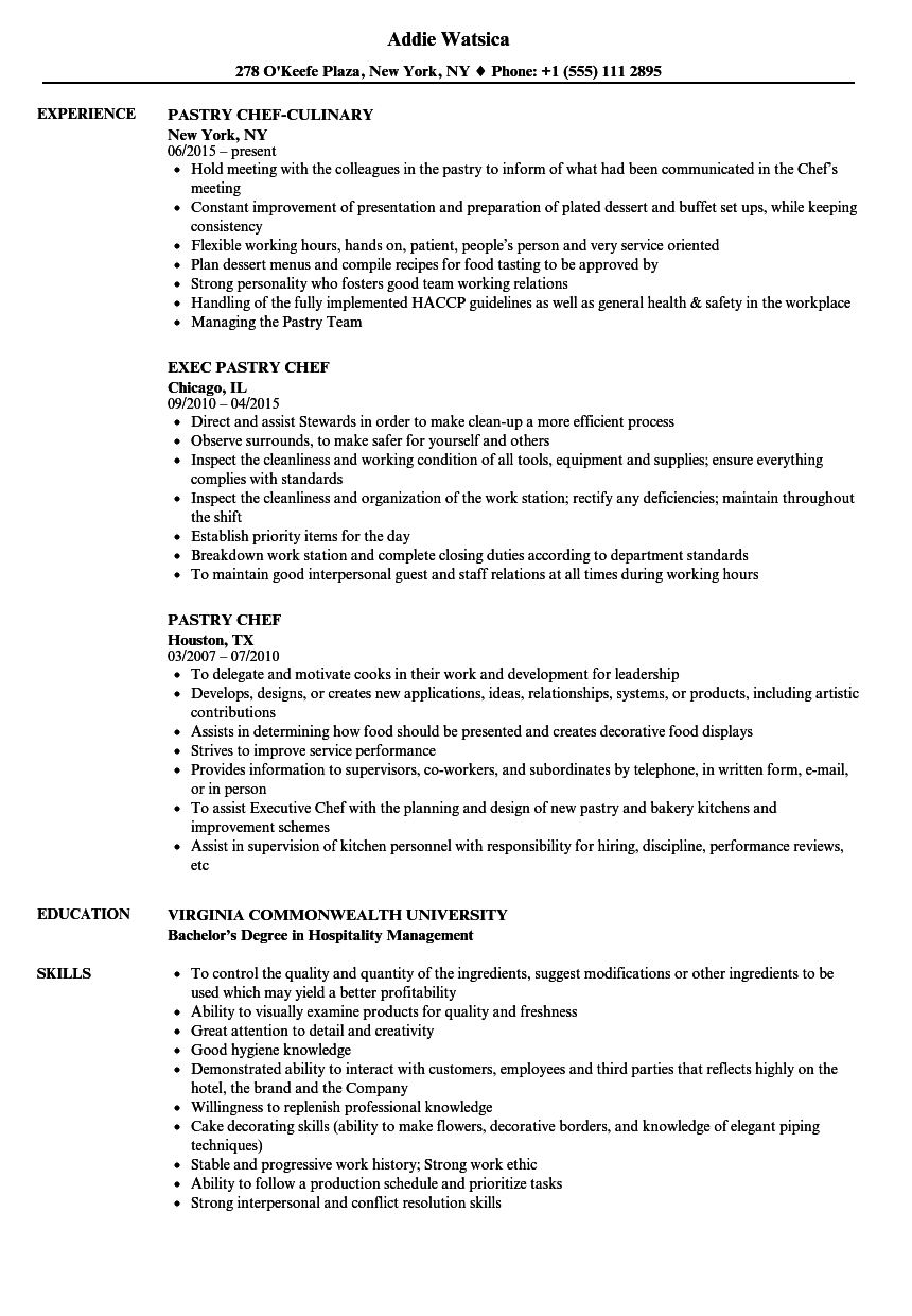 pastry chef resume samples