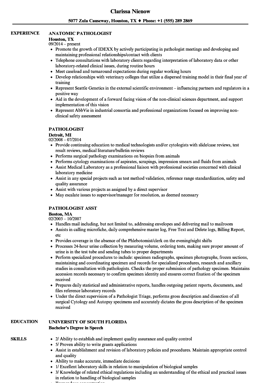 pathologist resume samples