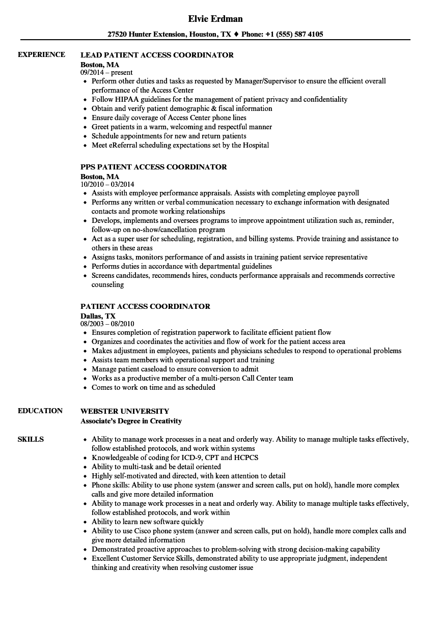 Patient Access Coordinator Resume Samples | Velvet Jobs