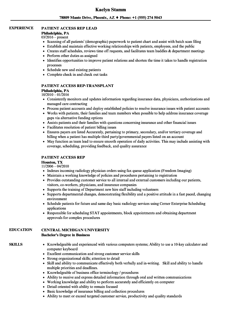 Patient Access Rep Resume Samples | Velvet Jobs