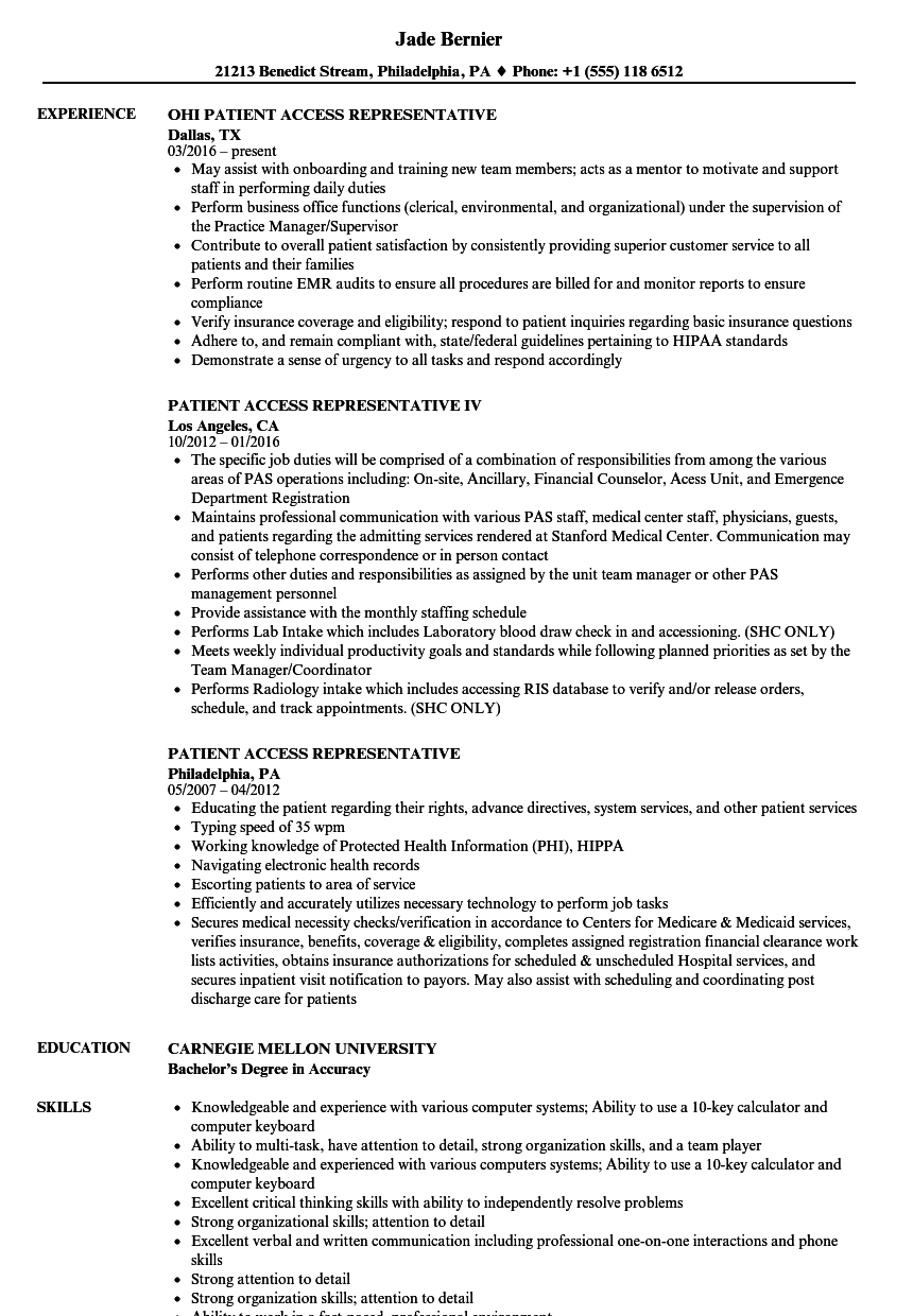 patient access representative resume samples velvet jobs